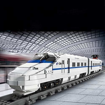 AMITAS Technik Zug Eisenbahn 1808 Teile Technic Hochgeschwindigkeitszug Technik Ferngesteuert Zug mit Motor, Fernbedienung und Beleuchtungsset Technik Dampflokomotive Kompatibel mit Lego Technik