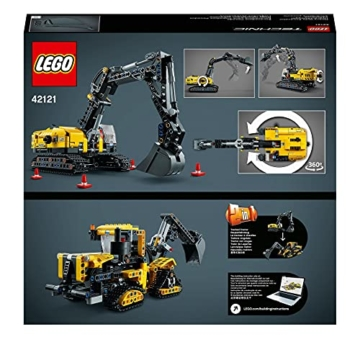 LEGO 42121 Technic Hydraulikbagger Bauset, 2-in-1 Modell, Baufahrzeug, Bagger Spielzeug ab 8 Jahren, Konstruktionsspielzeug - 8
