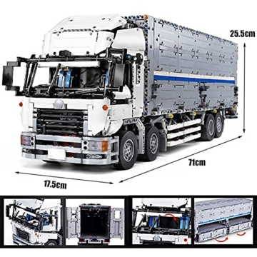 Mould King 13139 Technik LKW mit Container Auto Ferngesteuert mit 8 Motoren, 4166 Teile, Kompatibel mit Lego Technik